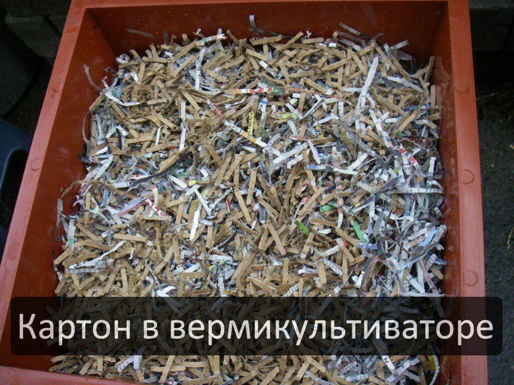 Переработка картона червями в удобрение